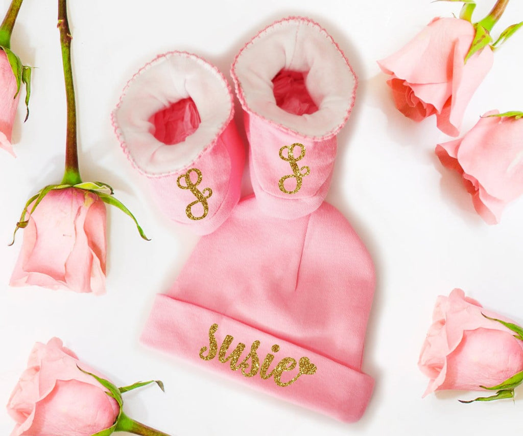 Baby Girl Gift Set Personalized Hat And Booties