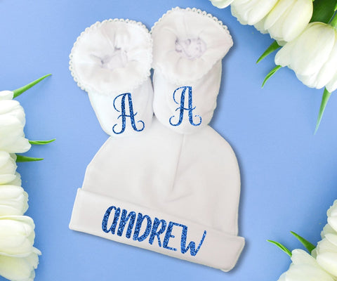 Baby Gift Set Personalized Hat & Booties Take Home Clothing