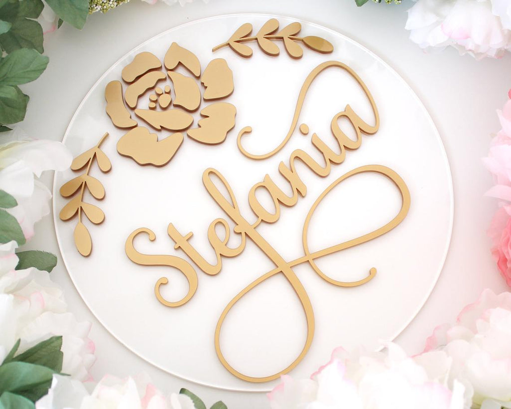 Gold Acrylic Nursery Name Sign