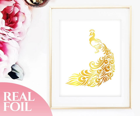 Peacock Gold Foil Print