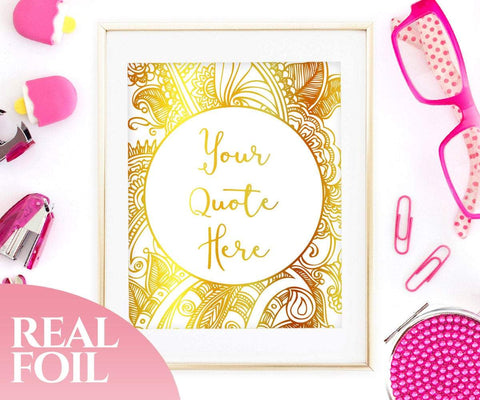 Custom Typography Gold Foil Print