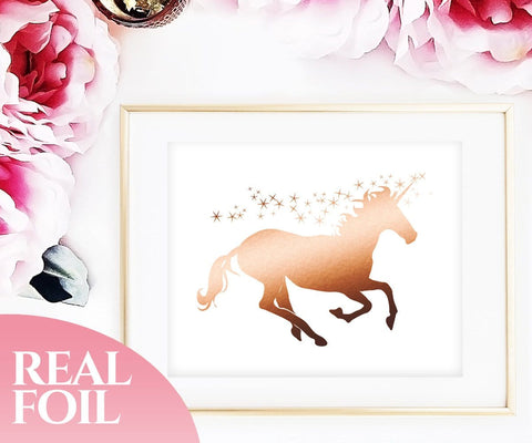 Unicorn Rose Gold Foil Print