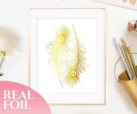 Peacock Feathers Gold Foil Print
