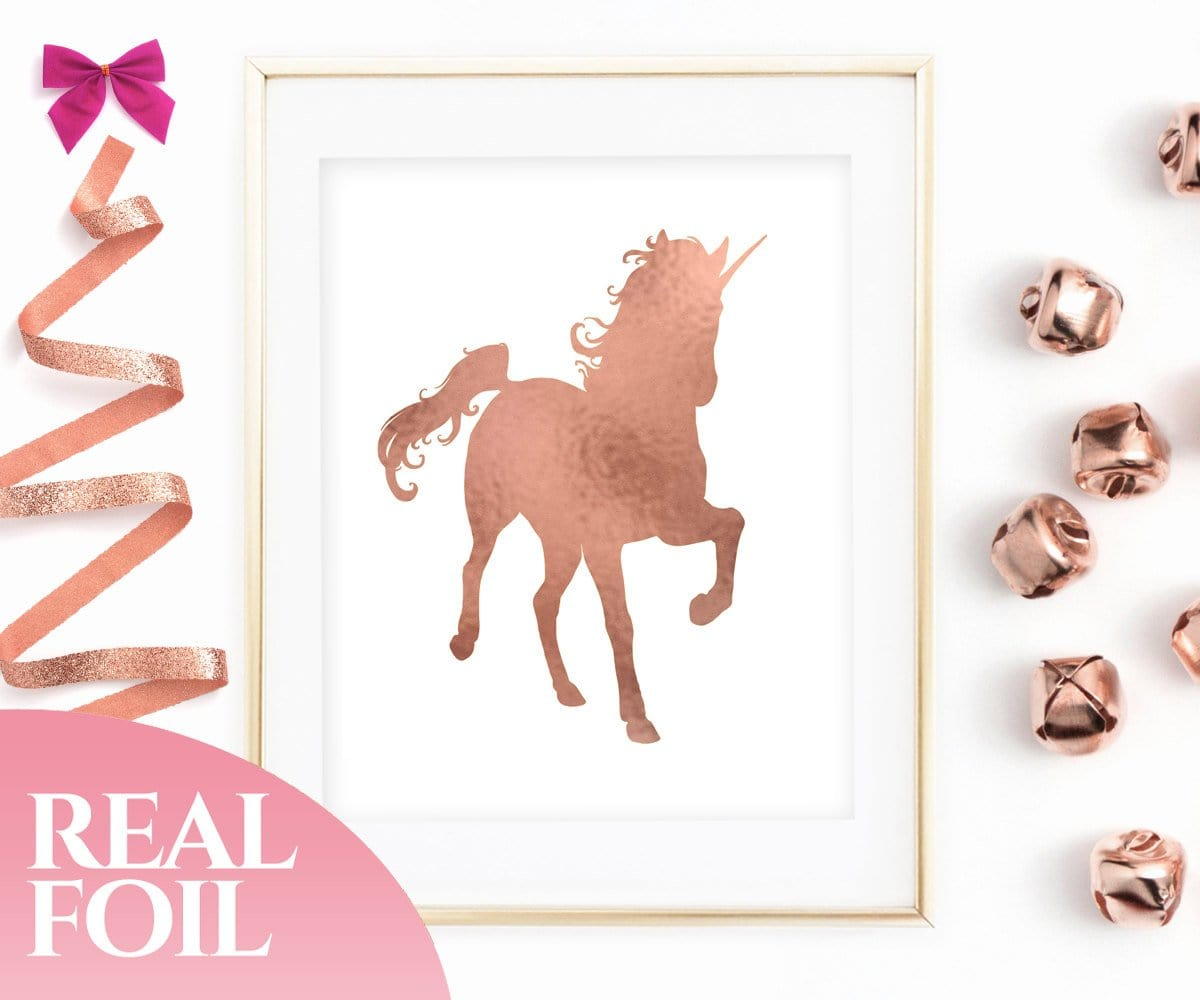Rose Gold Unicorn Foil Print
