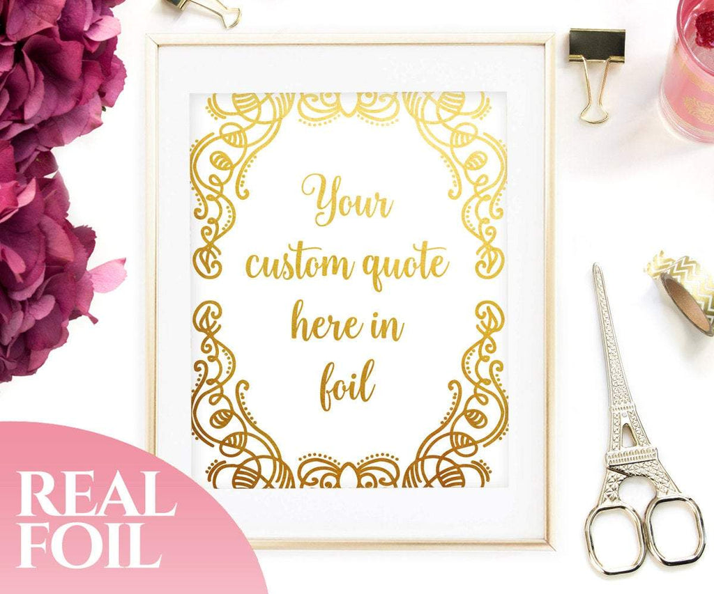 Personalized Gold Foil Print With Flowers