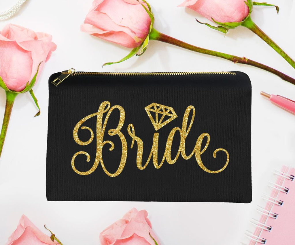 Bride Makeup Bag Gold Glitter Bridal Shower Gift