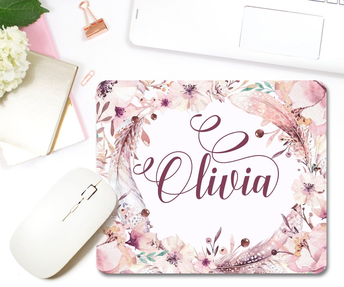 Personalized Boho Office Decor Feathers Mouse Pad