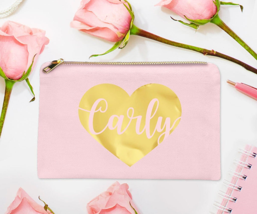 Heart Personalized Gold Foil Bridesmaid Makeup Bag