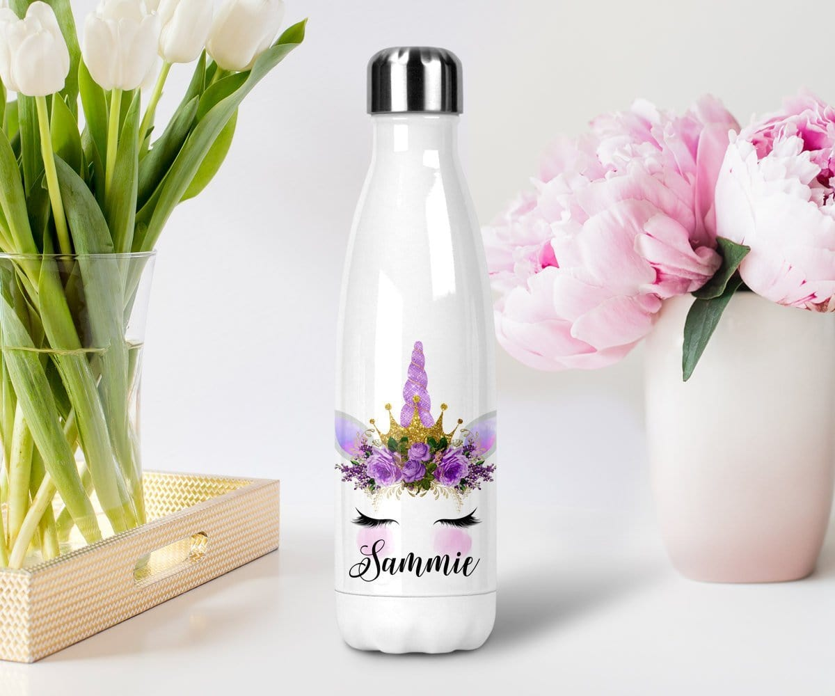 Purple Unicorn Personalized Name Water Bottle With Lid