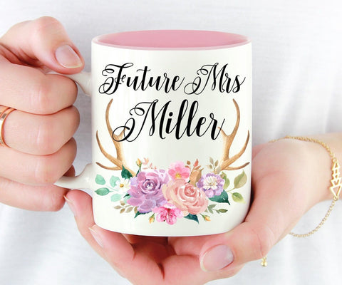 Custom Future Mrs Floral Antlers Mug Bride To Be Gift