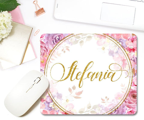 Personalised Mouse Pad Pink & Purple Watercolor Flowers