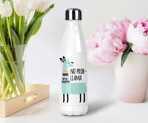 no prob llama funny water bottle stainless steel with lid