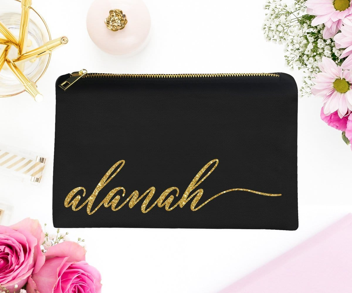 Gold Glitter Personalized Pink Makeup Bag With Cursive Script