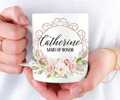 Rose Gold Floral Maid of Honor Mug