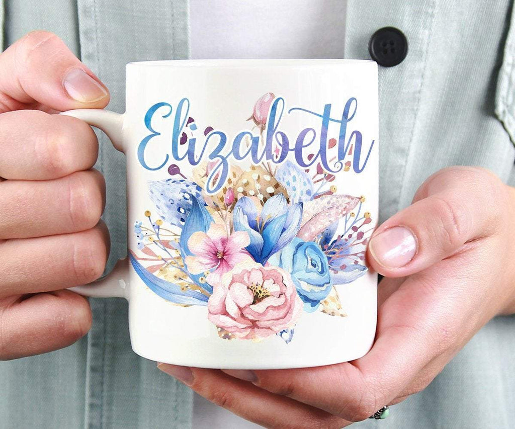 Personalised Mug Name With Blue Flowers