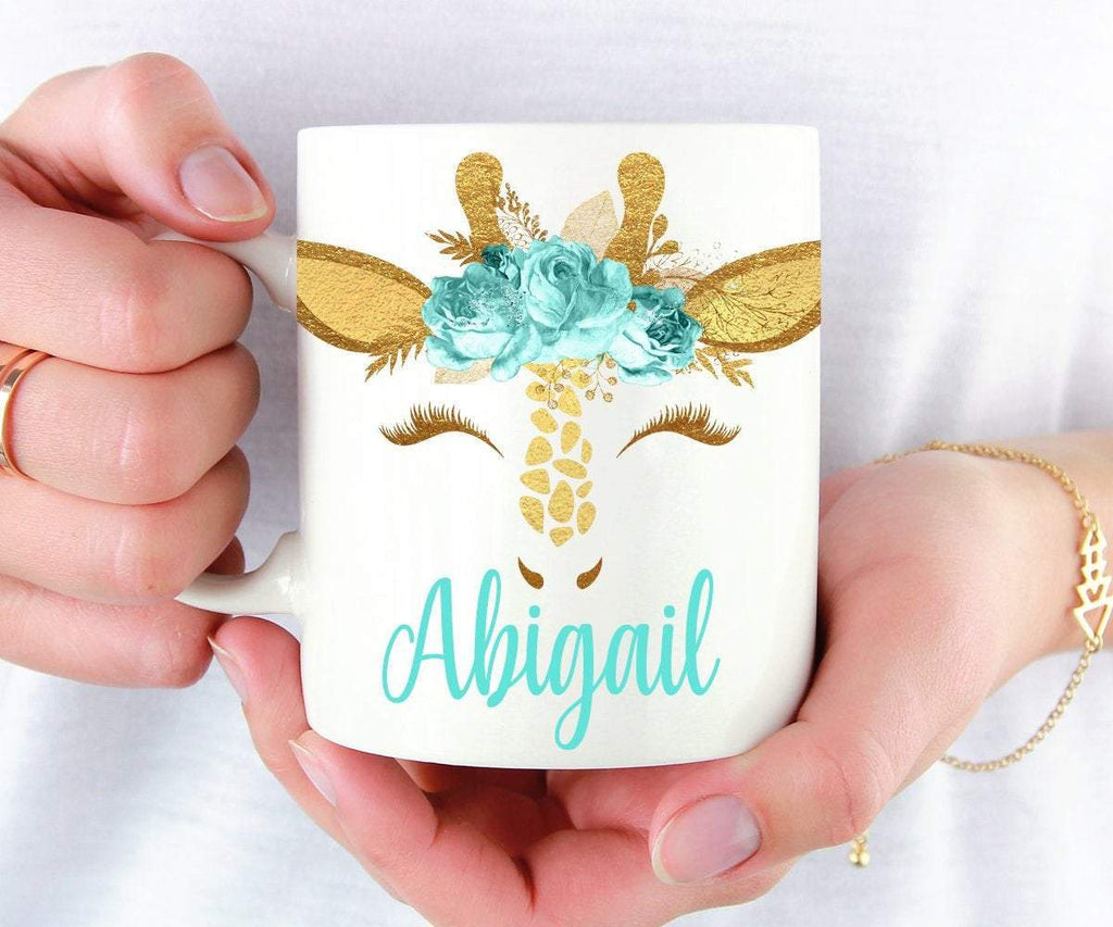 Giraffe Mug Personalized Gifts For Women, Mugs For Her, Gift For Mum, Mother's Day Gift, Mint Mug, Cute Coffee Cup, Giraffe Lover