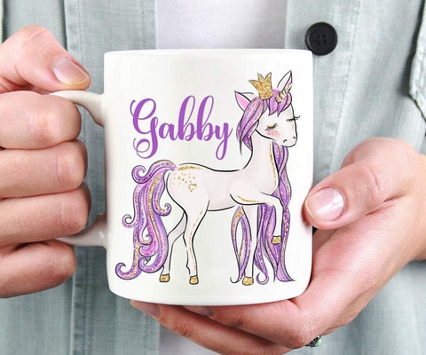 Personalized Purple Unicorn Coffee Mug