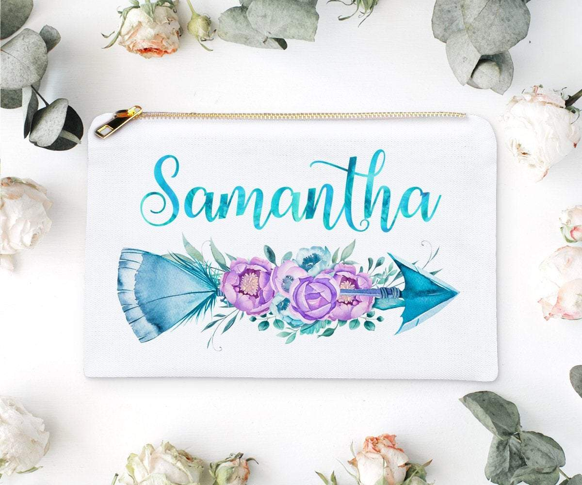Personalised Boho Arrow Personalized Makeup Bag