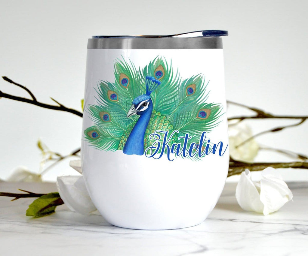 Peacock Gift Personalized Wine Tumbler With Lid Stainless Steel