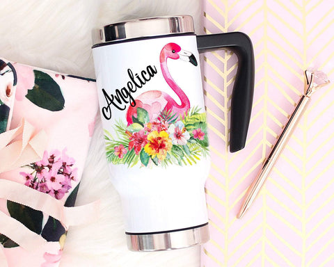 Custom Flamingo Travel Mug With Handle & Lid Stainless Steel