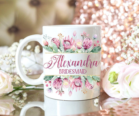 Personalized Flowers Bridesmaid Mug