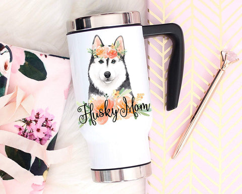 Custom Husky Travel Mug With Handle, Dog Mom