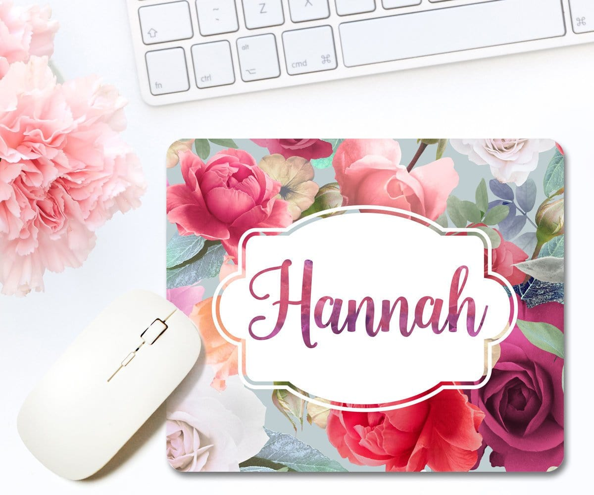 Pink Floral Personalized Name Mousepad