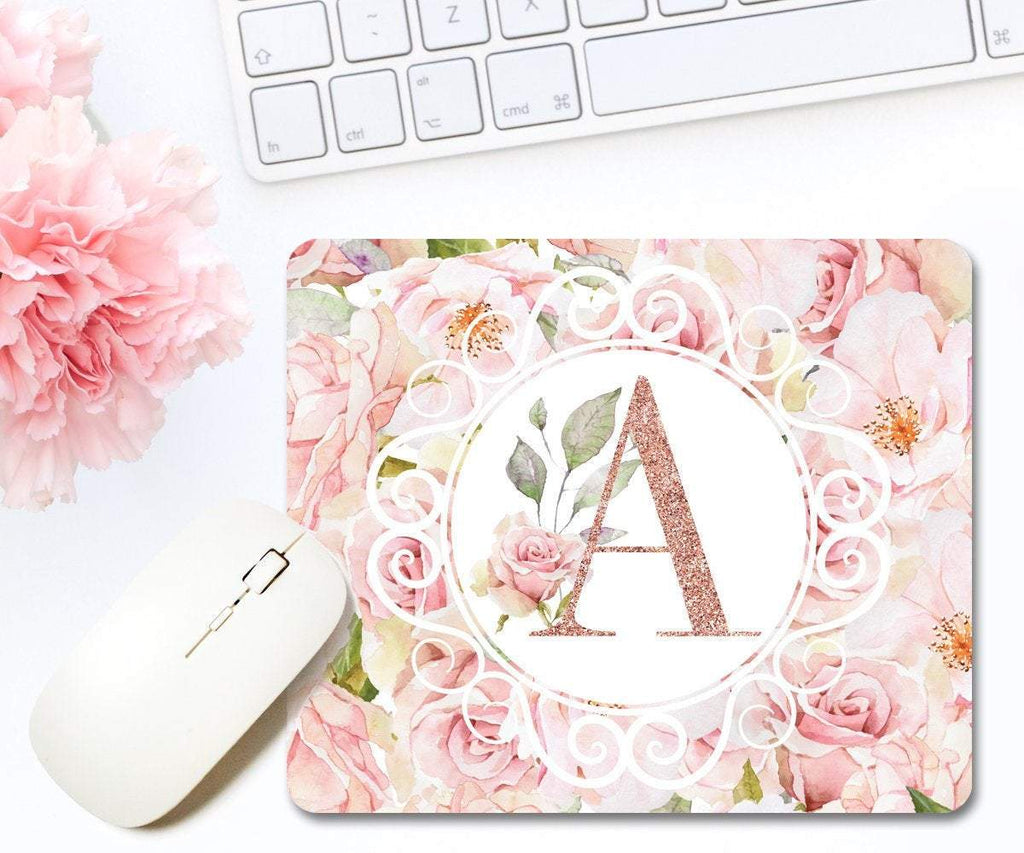 Rose Gold Mouse Pad Faux Glitter