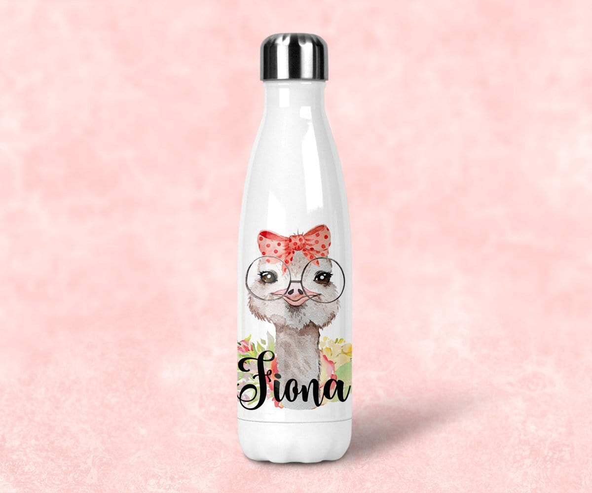 Ostrich Print Water Bottle Personalized Name