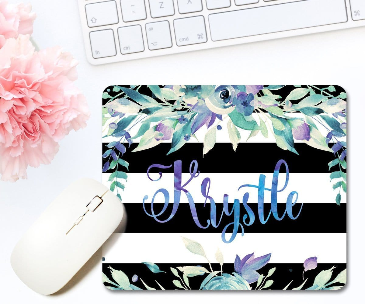 Personalized Floral Striped Mouse Pad