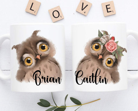 Owl Mugs Personalized Couple Coffee Mug Set