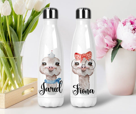 Personalized Ostrich Water Bottle Couple Wedding Gift