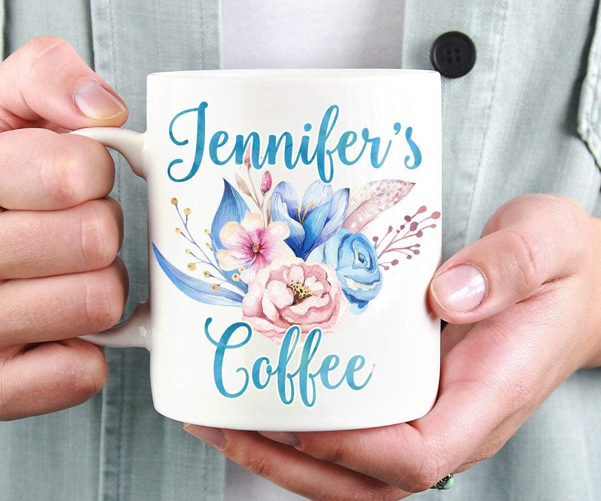 Personalized Name Blue and Pink Coffee Mug