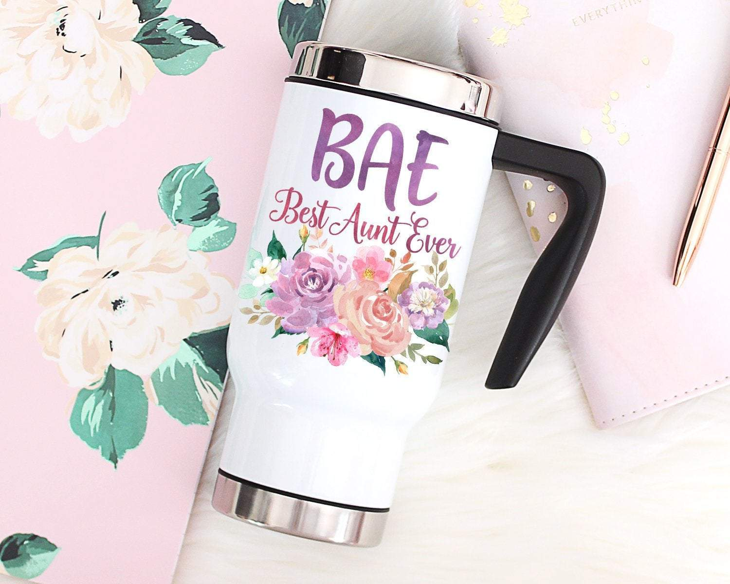 New Aunt Gift BAE Best Aunt Ever Travel Mug