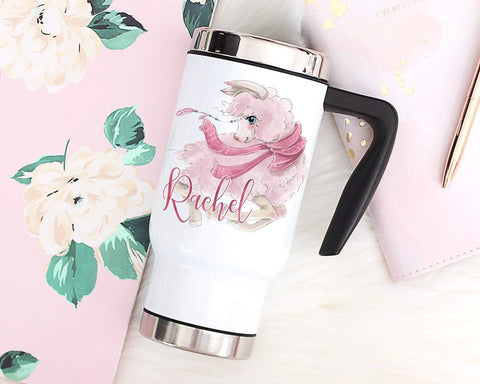 Custom Llama Travel Mug With Handle & Lid Stainless Steel