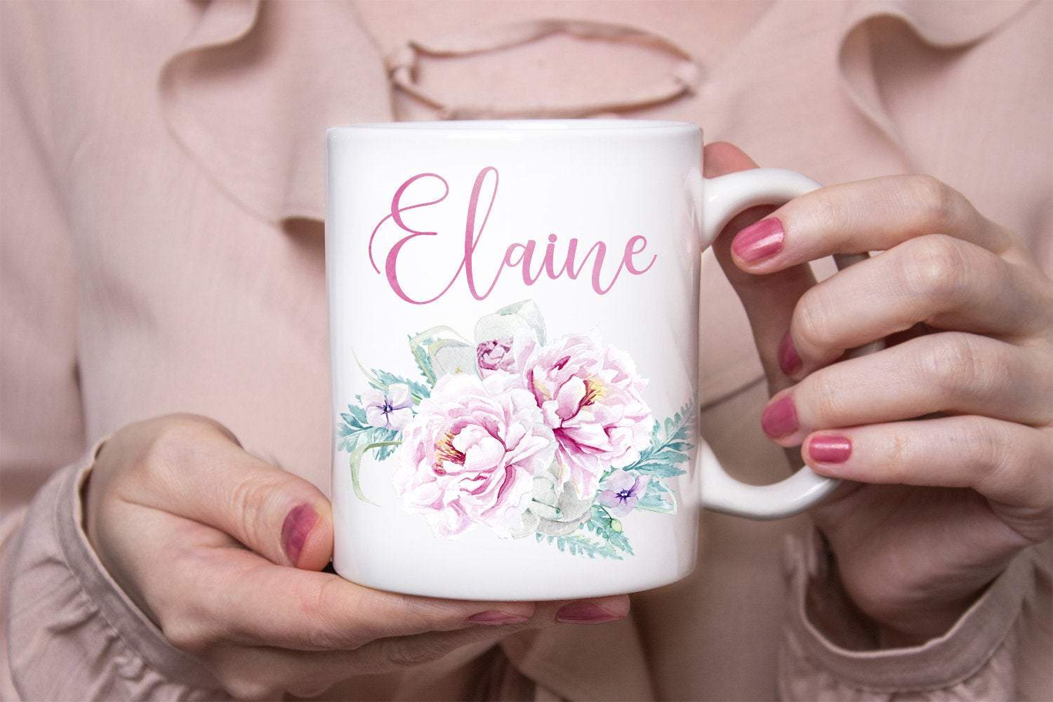 Personalized Pink Flowers Name Mug