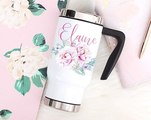 Personalized Floral Travel Mug For Women With Handle & Lid