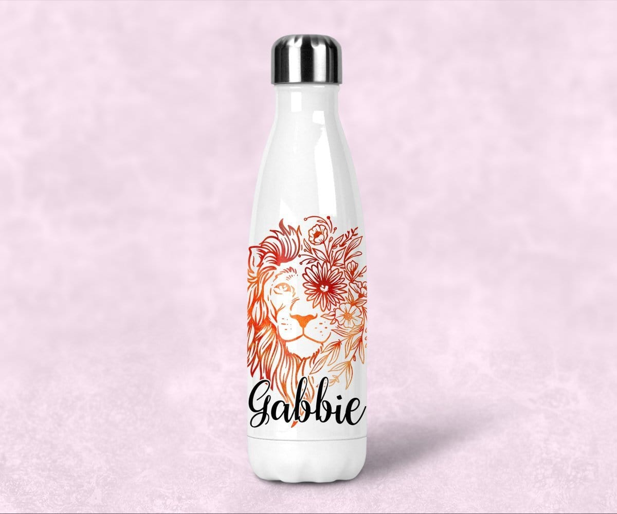 Lion Personalized Steel Water Bottle With Lid