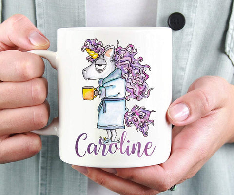 Funny Tired Unicorn Personalized Mug