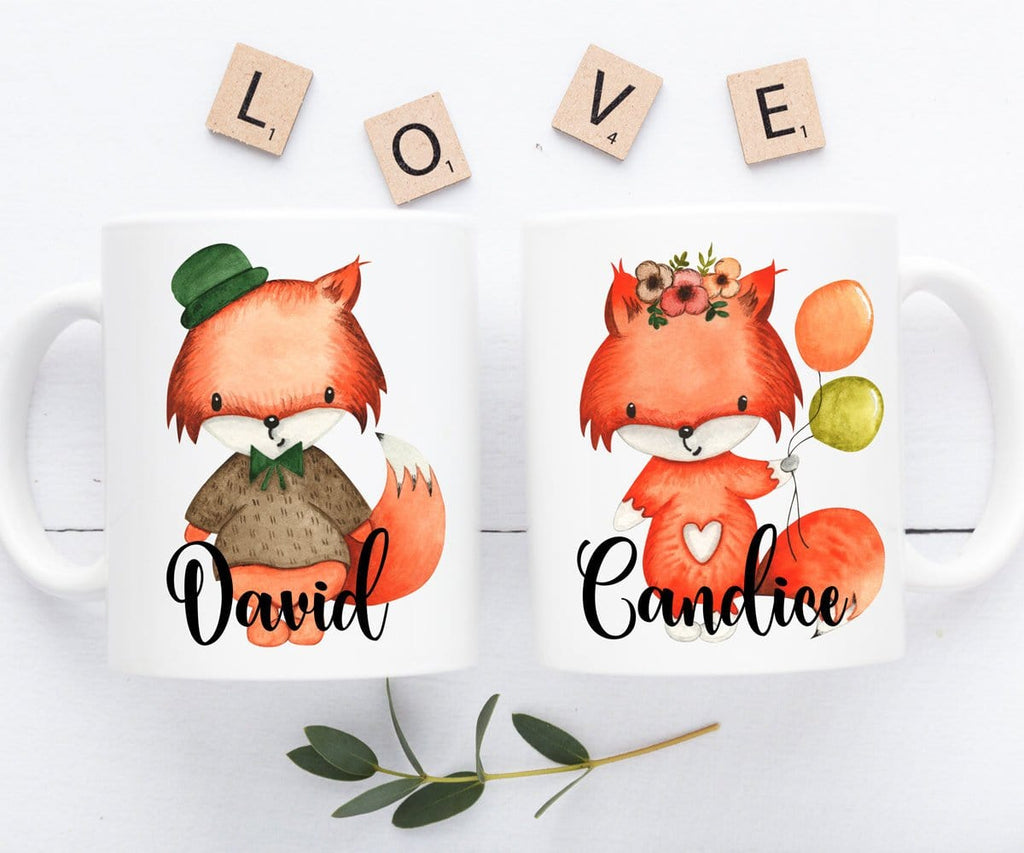 Fox Mugs Personalized Couple Gift Set