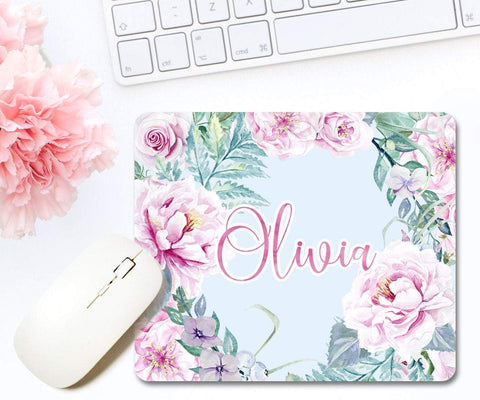 Pink Roses Floral Personalized Mouse Pad