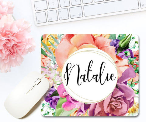 Personalized Name Floral Mouse Pad