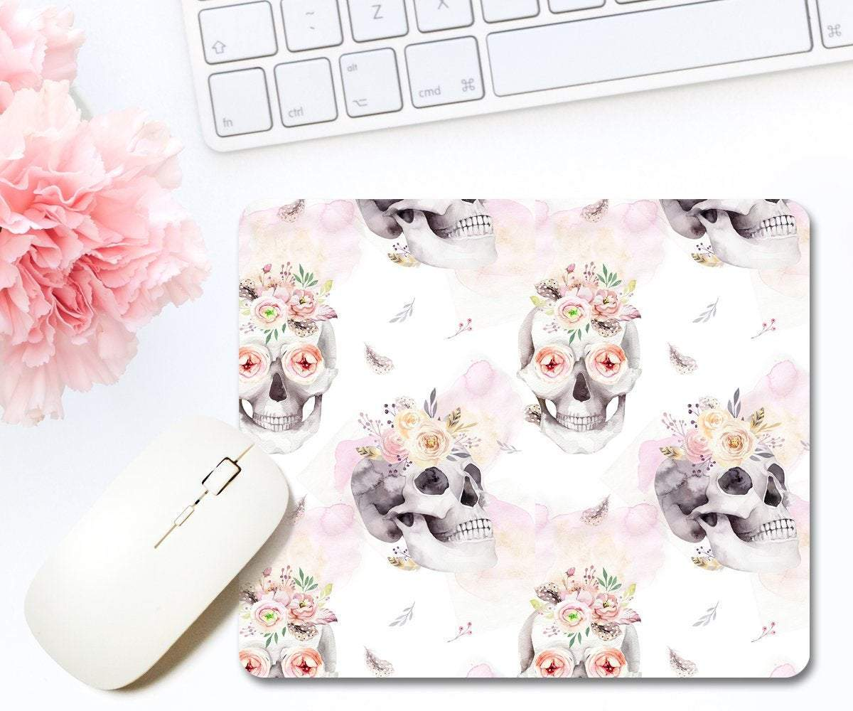 Skull With Flowers Print Mouse Pad