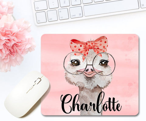 Ostrich Mouse Pad With Personalized Name