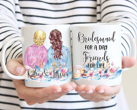 Personalized Bridesmaid Portrait Robe Mug