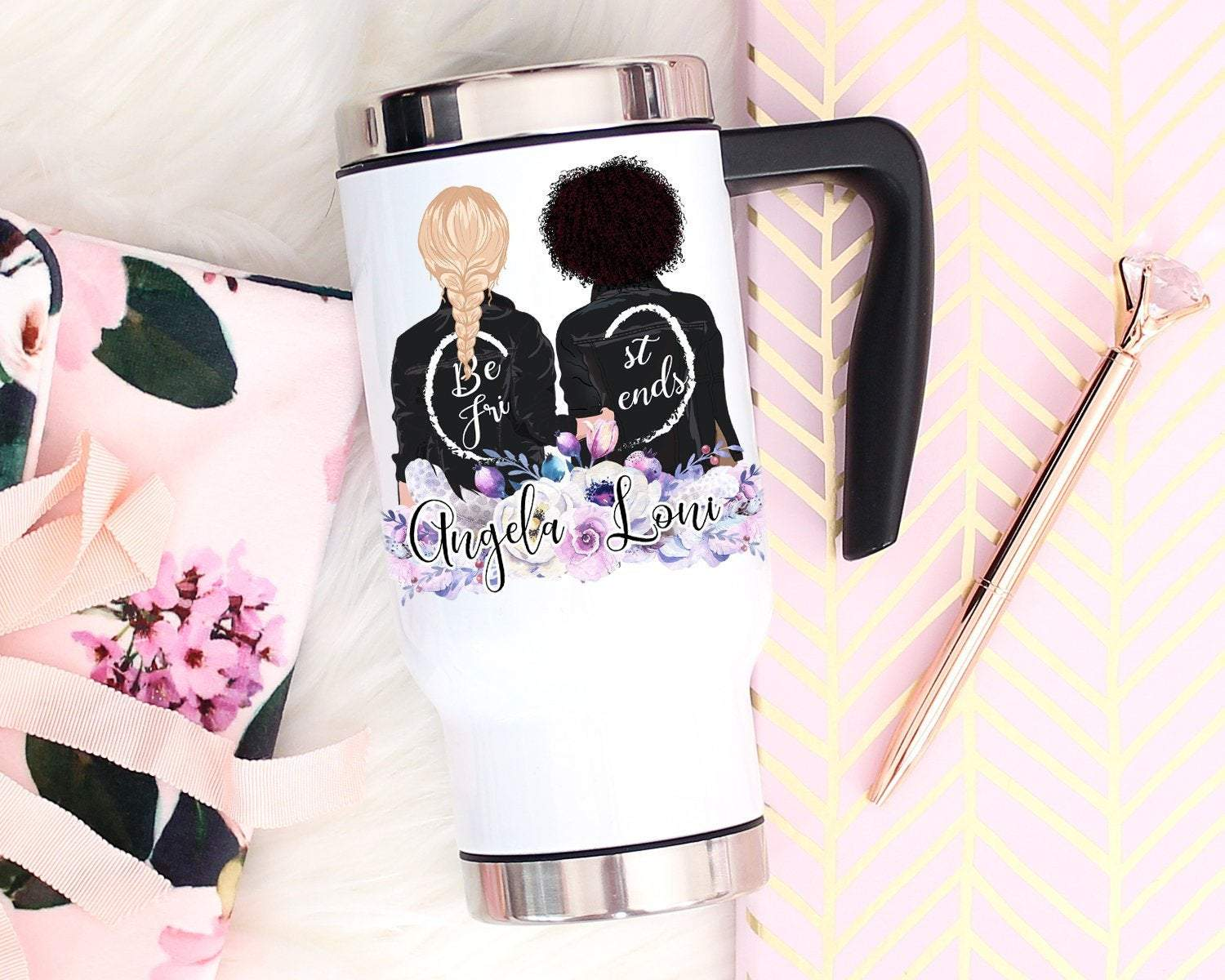 Custom Best Friends Portrait Travel Mug With Handle, Soul Sisters