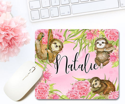 Personalized Sloth Mouse Pad Office Décor
