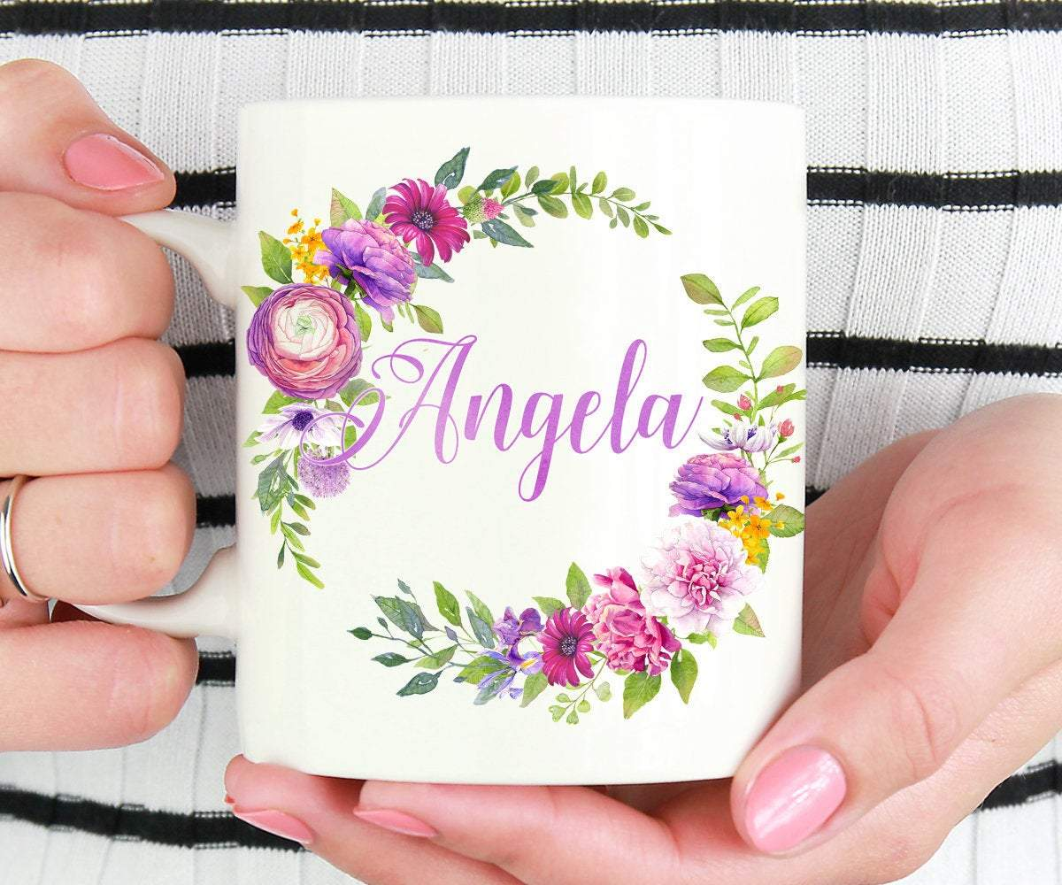 Personalized Floral Wreath Coffee Mug