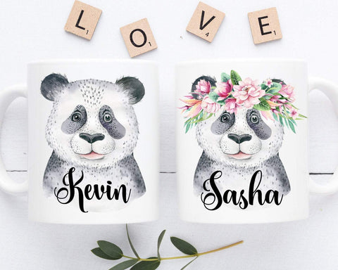 Panda Mugs Personalized Couple Coffee Mug Set