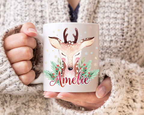 Personalized Reindeer Christmas Mug